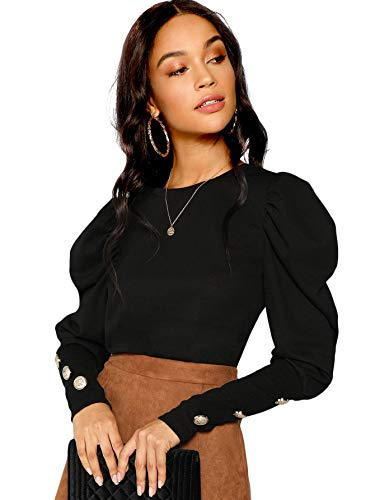 Milumia Women's Puff Sleeve Button Detail Round Neck Long Sleeve Tee Pullovers Tops Black M