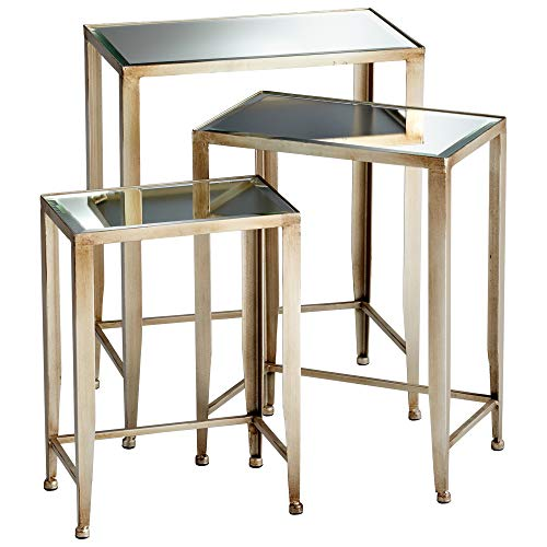 Contemporary Iron & Mirrored Glass Nesting Tables Set/3