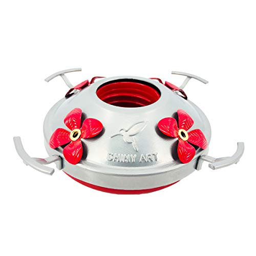 ShinyArt Metal Top with 4 Flower Ports Hummingbird Feeders (Metal Hummingbird Feeder)