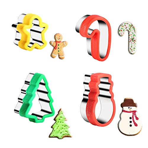 KSPOWWIN Stainless Steel Christmas Cookie Cutters with Comfort Grip for Christmas Party and Baking Gift,Include Gingerbread Man,Christmas Tree,Candy - Cutter Cookie Christmas