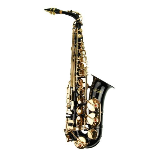 Merano E Flat Black / Gold Alto Saxophone with Zippered Hard Case + Mouth Piece + Metro Tuner + Black Music Stand + 11 Reeds