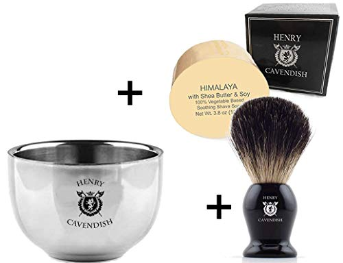 Henry Cavendish Himalaya Shaving Soap, Long Lasting 3.8 oz Puck Refill, plus Stainless Steel Shaving Soap Bowl, plus Gentleman's 100% Pure Badger Hair Shaving Brush.