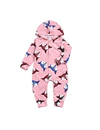 Kehen Infant Baby Toddler Girl Boy Cotton Pajamas Fox Print Hoodie Jumpsuit with Zip