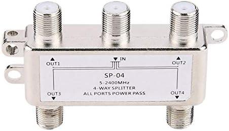 4 Voies 4 canaux Satellite//antenne//C/âble R/épartiteur TV Splitter 5-2400MHz F Type SP-04 Zinc moul/é sous Pression