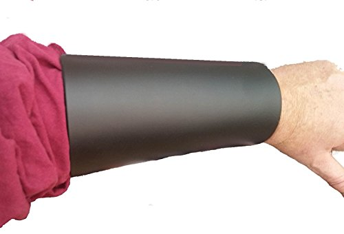 Leather Arm Cuff Bracers Vambraces Black Large- Made in USA ()