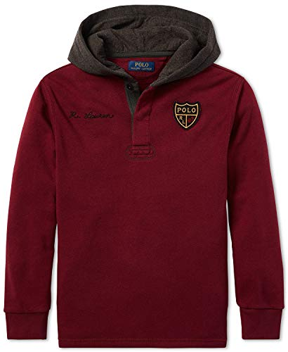 Ralph Lauren Polo Boys Crested Rugby Hoodie (Medium 10-12) Classic Wine