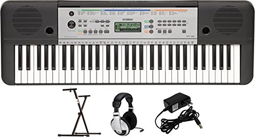 yamaha-ypt255-61-key-keyboard-pack-with-headphones-power-supply-and-secure-bolt-on-stand