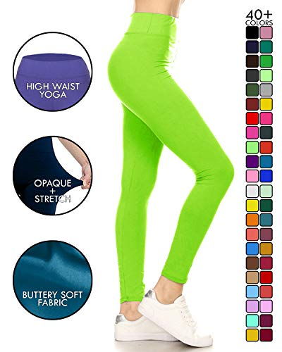 LYX128-NEONLIME Yoga Solid Leggings, Plus -