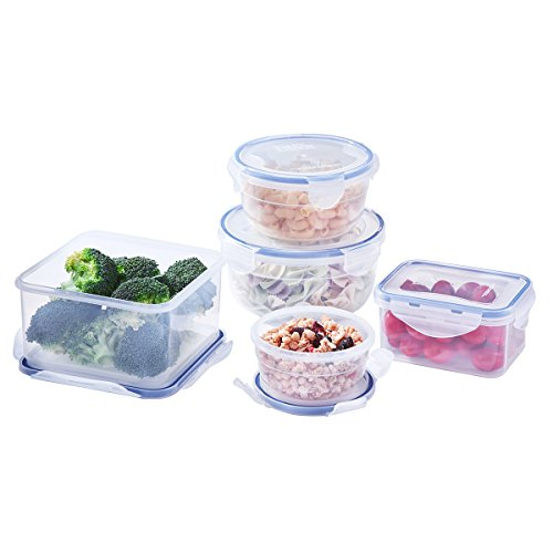 10 Piece Set Food Storage Containers, 100% LeakProof BPA Free Airtight Plastic, Kids Lunch Bento Boxes, Microwave, Freezer and Dishwasher Safe, Large Small Meal Prep Containers