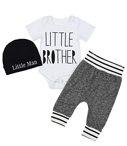 Newborn Baby Boy Clothes Little Brother Letter Print Short Sleeve Romper Pants Hat 3Pcs Outfits Set