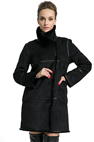 Ladies Suede Leather Coat (Ovonzo Women's Winter Style Soft Faux Suede Leather Pea Coat Hip Length Black Size XL)