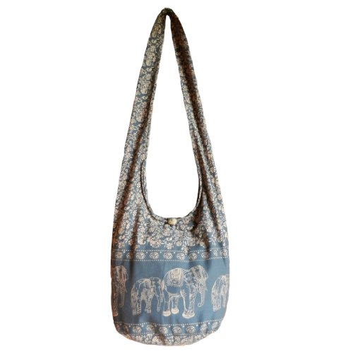 BTP! Hippie Hobo Sling Crossbody Bag Messenger Purse Elephant Floral Printed in Gray EEL5 by BenThai Products