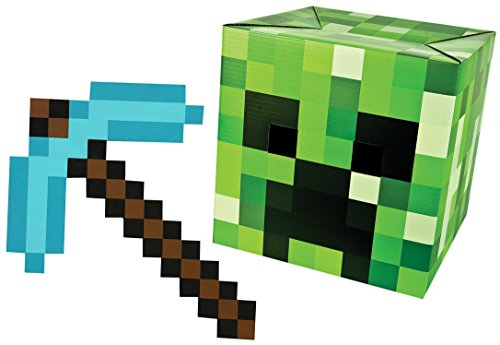 (Minecraft Head + Diamond Pickaxe Costume Set Steve-Creeper-Enderman-Skeleton-Alex)