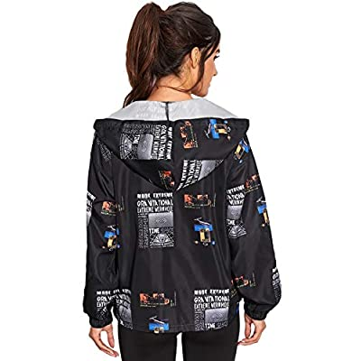 ROMWE Women' Zip Up Newspaper Print Hooded Windbreaker Jacket: Clothing