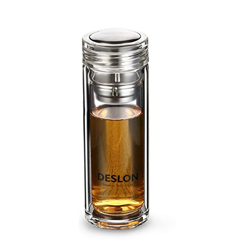 DESLON High-Borosilicate Glass Water Bottle with Filter Double Layer Heat Resistant Tea Coffee Milk