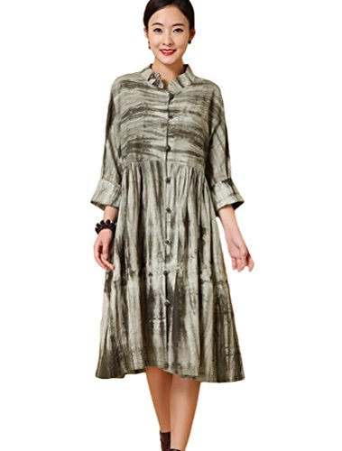 Mordenmiss Women's New Empire Waist Mandarin Collar Tie Dye Long Sleeve Midi Dress M-Moss Green