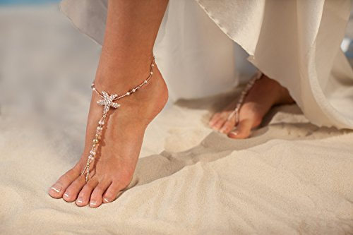 Rose gold barefoot sandals, Beach wedding foot jewelry, Beaded Bridal anklets, Starfish footless sandals, Bridal shoes, Wedding (Starfish Beach Wedding Accessories)