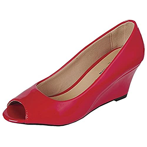 Coshare Women's Fashion Assorted Peep Toe Mid Heel Wedge Pumps