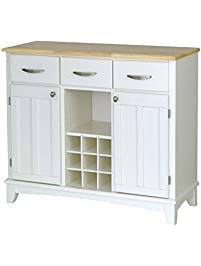 Bowery Hill White Buffet With Natural Wood Top