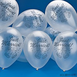 "DOMAGRON Novelty ""Just Married!"" Latex Balloons, 11-Inch, Grey"