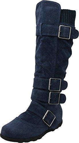 Boots Navy Winter (Cambridge Select Women's Buckle Sweater Knee High Flat Boot (10 B(M) US, Navy))