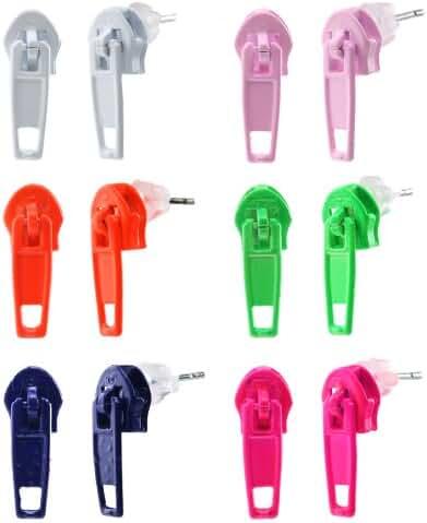 JewelrieShop 6 Pairs Assorted Colors Wholesale Lot Zipper Zip Zap Stud Earrings, Stainless Steel Pin