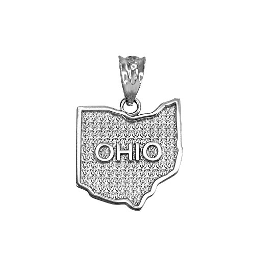 (Ohio OH State Map Charm Pendant in 925 Sterling Silver)