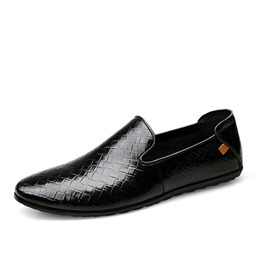 Minitoo Boys Mens Checked Slip-On Leisure Spring Boat Shoes Loafers Black