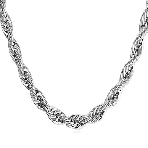 U7 Twisted Style Rope Chain 6mm Wide Stainless Steel Cord Necklace for Men Women, Wear Alone or with Pendant, 18