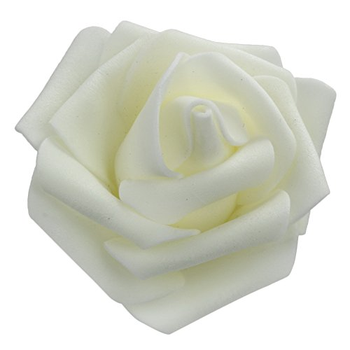 Whitelotous 50PCS DIY Artificial Foam Rose Head Real Touch Flower Without Stem for Wedding Party Home Decoration (White)