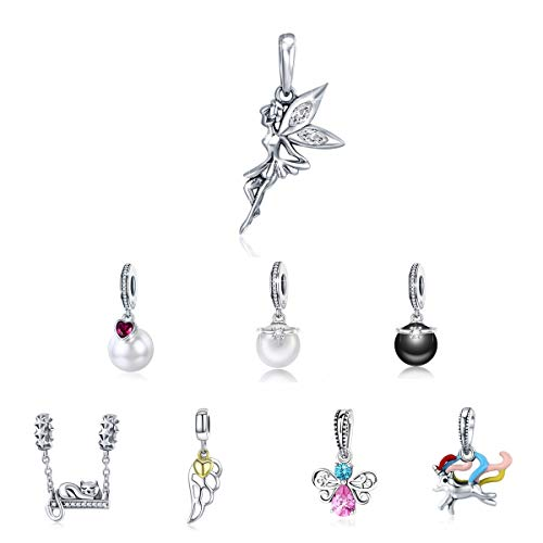 BAMOER 925 Sterling Silver Flower Fairy Dangle Charms for Women Girls Fit Snake Chain Bracelet Necklaces Flower Fairy