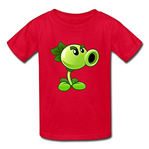 Boys' Girls' (age 6-17) Plants Vs. Zombies Peashooter Cotton Tee Shirt L Red (The Winx C)