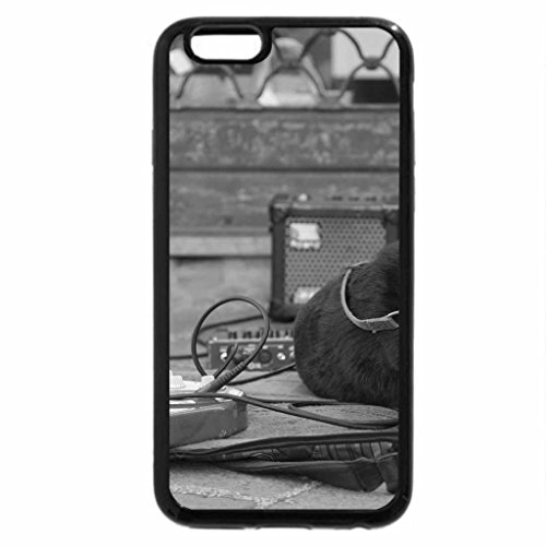 iPhone 6S Case, iPhone 6 Case (Black & White) - Dog with guitar