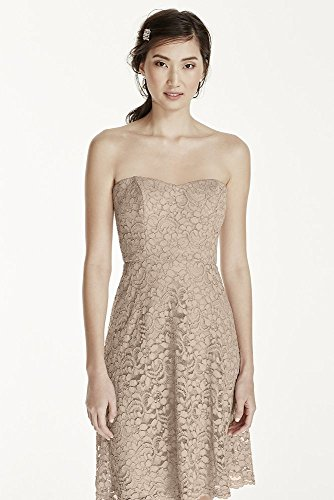 Short Strapless Lace Bridesmaid Dress with