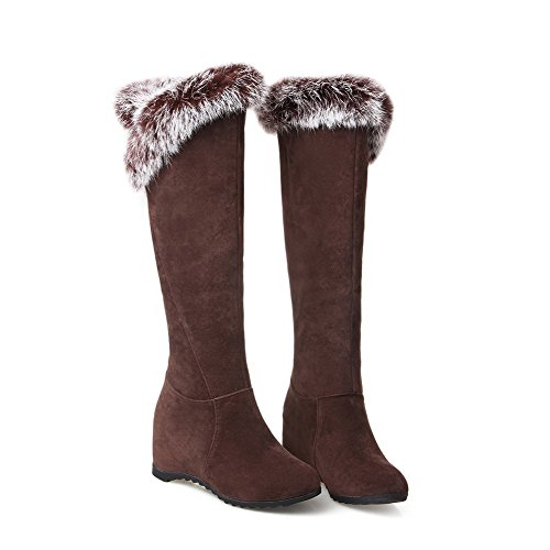 Closed Kitten Suede Imitated On Heels Round Women's Toe AmoonyFashion Pull Solid Brown Boots RAwCxAT0q