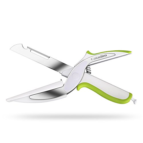 Galadim Kitchen Shears With Built-in Cutting Board - Multipurpose Kitchen Scissors - Ideal Tool for Picnic (Knife with Cutting Board, Fruits Peeler, Chef's Knife, Bottle Opener) (Green)