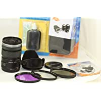 Olympus M.ZUIKO DIGITAL ED 12-50mm F3.5-6.3 EZ Black Lens Kit With 3 PC Filter Kit, Lens Hood and Case For All Pen Cameras