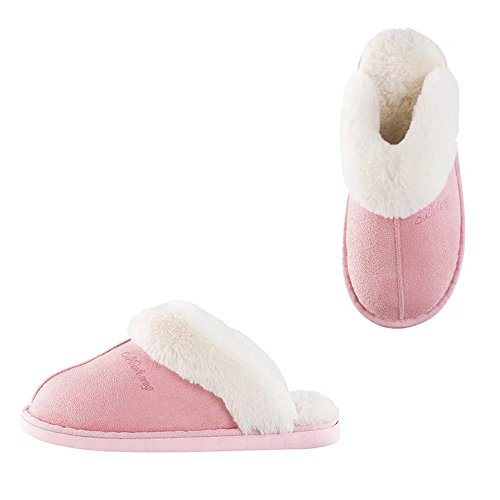 Womens Slipper Memory Foam Fluffy Slip-On House Suede Fur Li