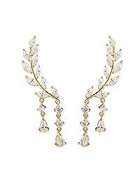 Fashion Lady Clear Crystal Leaf Feather Ear Jacket Earrings Back Ear Cuffs Stud Earring