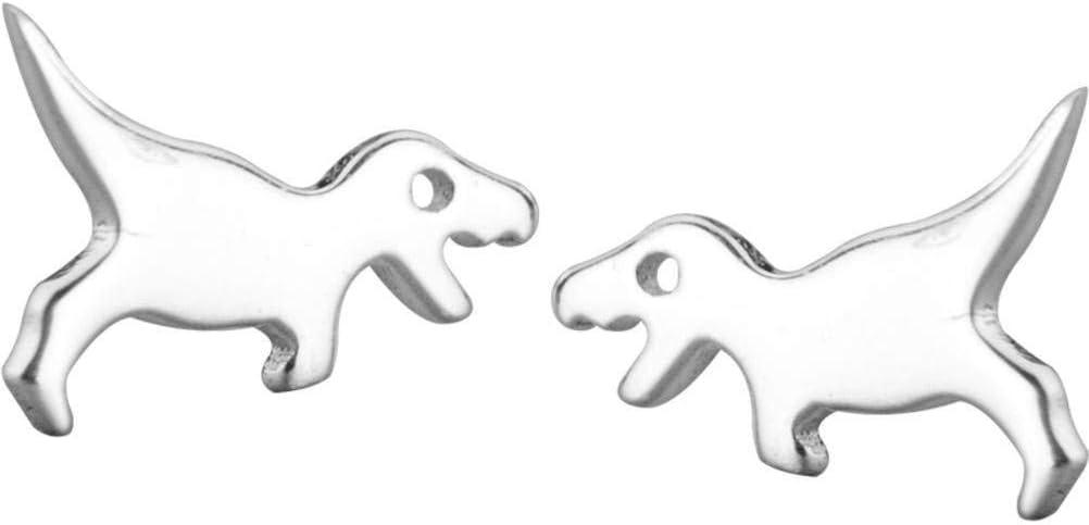 Silver 925 silver LOt S925 Silver Earrings Women/'S Han Xiaoqing New Cute Personality Smooth Dinosaur Fashion Mini Animal Earrings
