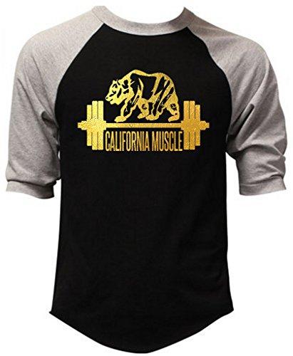 Gold Foil California Muscle Men's Black/Gray Raglan Baseball T-Shirt Black/Gray