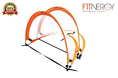 Pop Up Foldable Soccer Goal by F1TNERGY - 2 Premium Durable Orange 1.2 M (4 Ft) Portable Nets & FREE Carrying Bag - Easy Goals Net to Set for Kids Small Training Backyard Football Sports Size Balls Indoor Outdoor kick trainer ball hockey toddler