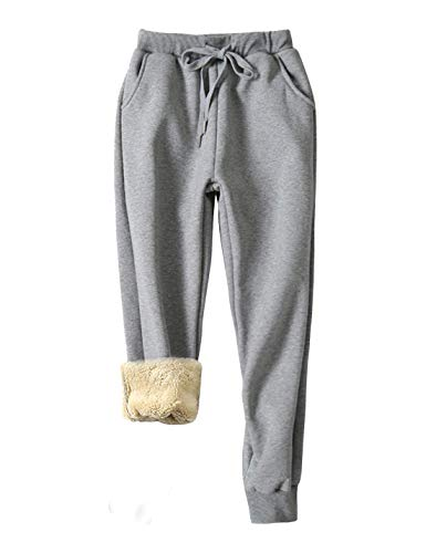 Yeokou Women's Warm Sherpa Lined Athletic Sweatpants Jogger Fleece Pants (Medium, Light grey001)