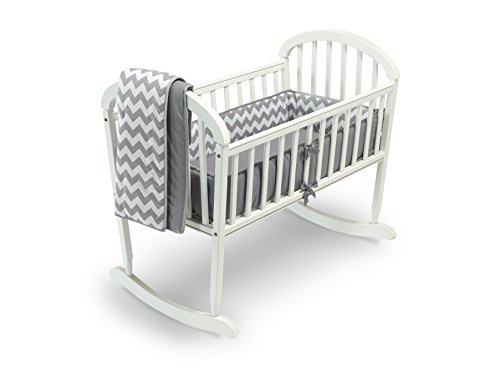 - Baby Doll Bedding Chevron Cradle Bedding Set, Grey