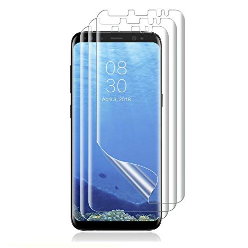 [3 Pack] for Samsung Galaxy S8 Plus Screen Protector (Case Friendly), [Full Coverage] PET Soft Flexible Film with Lifetime Replacement Warranty-Clear
