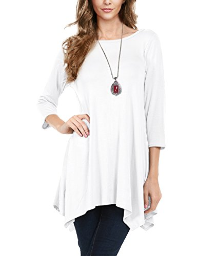 Urban CoCo Women's 3/4 Sleeve Comfy Tunic Tops Flare T Shirts (S, White)