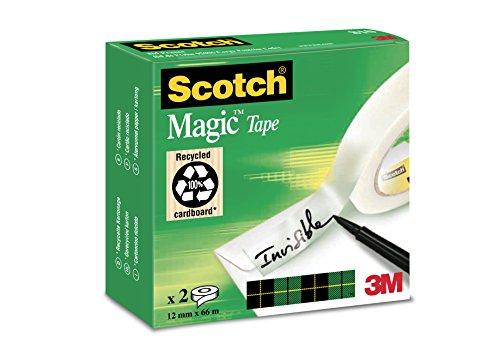 Scotch M8101266 Klebeband Magic 810, Zellulose Acetat, matt & unsichtbar, 12 mm x 66 m, 2 Rollen