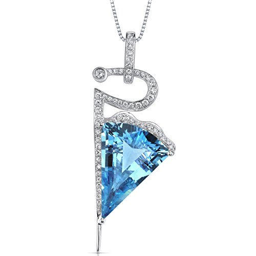 14 Karat White Gold Fancy Cut 11.00 carats Swiss Blue Topaz Diamond Pendant