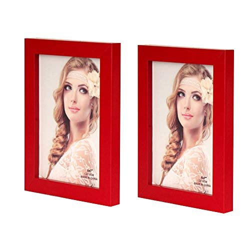(Leoyoubei Simple 2-Pack Frame Photo Frame Desktop Or Wall Hanging Decoration,Display Size 4x6 Red)