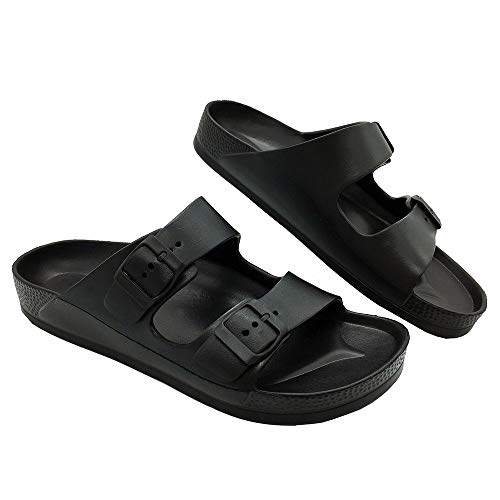 (LUFFYMOMO Adjustable Slip on Eva Double Buckle Slides for Womens Mens (10 D (M) US Men / (Insole Length) 11.14 inch, Black))